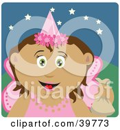 Clipart Illustration Of A Tooth Fairy In Pink Holding Up A Bag by Dennis Holmes Designs