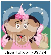Clipart Illustration Of A Happy Hispanic Tooth Fairy In A Pink Costume Holding Up A Bag by Dennis Holmes Designs