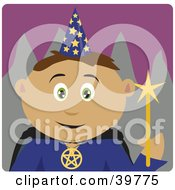 Clipart Illustration Of A Friendly Wizard In A Hat Holding A Wand