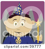 Clipart Illustration Of A Wizard Wearing A Conical Hat And Holding A Magic Wand
