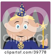Clipart Illustration Of A Male Caucasian Warlock Holding A Magic Wand