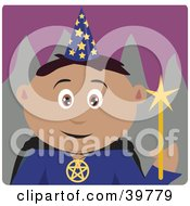 Clipart Illustration Of A Male Magician Holding A Magic Wand