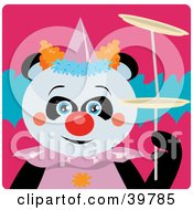 Clipart Illustration Of A Blue Eyed Female Circus Clown Giant Panda Bear Doing A Balancing Stunt