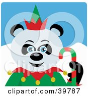 Clipart Illustration Of A Blue Eyed Christmas Elf Giant Panda Bear Holding A Candy Cane