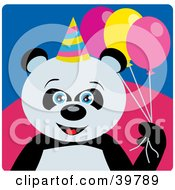 Clipart Illustration Of A Blue Eyed Female Birthday Giant Panda Bear Holding Party Balloons