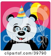 Blue Eyed Male Birthday Giant Panda Bear Holding Party Balloons