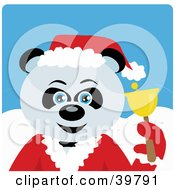 Clipart Illustration Of A Blue Eyed Charity Bell Ringer Giant Panda Bear In A Santa Suit