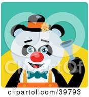 Clipart Illustration Of A Blue Eyed Male Circus Clown Giant Panda Bear Honking A Horn