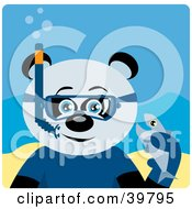 Clipart Illustration Of A Blue Eyed Male Giant Panda Bear Wearing Blue Snorkel Gear Holding A Fish Underwater by Dennis Holmes Designs