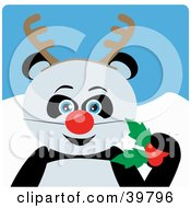 Clipart Illustration Of A Blue Eyed Giant Panda Bear Disguised As Rudolph