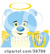 Clipart Illustration Of An Angelic Teddy Bear With Golden Wings And A Halo