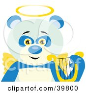 Clipart Illustration Of An Angelic Panda Bear With Golden Wings And A Halo