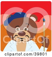 Clipart Illustration Of A Brown Artist Teddy Bear Holding A Paintbrush