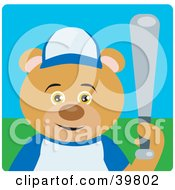 Clipart Illustration Of A Brown Bear Playing Baseball On A Field