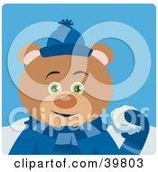 Green Eyed Male Teddy Bear In Blue Throwing Snowballs