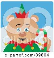 Blue Eyed Christmas Elf Teddy Bear Holding A Candy Cane