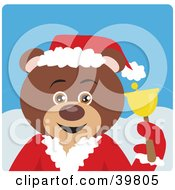 Clipart Illustration Of A Brown Charity Bell Ringer Teddy Bear In A Santa Suit
