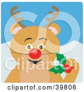 Clipart Illustration Of A Brown Bear Disguised As Rudolph
