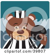 Clipart Illustration Of A Brown Prisoner Teddy Bear Attached To A Ball And Chain