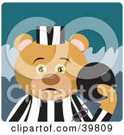 Clipart Illustration Of A Brown Prisoner Bear Attached To A Ball And Chain
