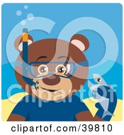 Clipart Illustration Of A Brown Male Teddy Bear Wearing Blue Snorkel Gear Holding A Fish Underwater by Dennis Holmes Designs