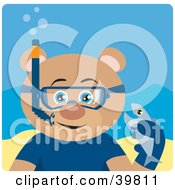 Clipart Illustration Of A Blue Eyed Male Teddy Bear Wearing Blue Snorkel Gear Holding A Fish Underwater by Dennis Holmes Designs
