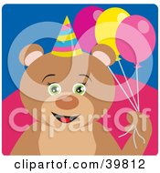 Clipart Illustration Of A Green Eyed Female Birthday Teddy Bear Holding Party Balloons