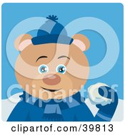 Clipart Illustration Of A Blue Eyed Male Teddy Bear In Blue Throwing Snowballs
