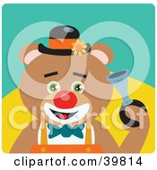 Clipart Illustration Of A Green Eyed Male Circus Clown Teddy Bear Honking A Horn