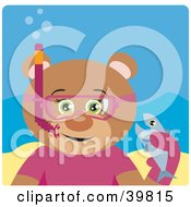Clipart Illustration Of A Green Eyed Female Teddy Bear Wearing Pink Snorkel Gear Holding A Fish Underwater by Dennis Holmes Designs
