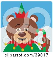 Clipart Illustration Of A Brown Christmas Elf Teddy Bear Holding A Candy Cane