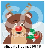 Clipart Illustration Of A Brown Teddy Bear Disguised As Rudolph