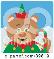 Clipart Illustration Of A Green Eyed Christmas Elf Teddy Bear Holding A Candy Cane
