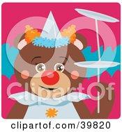 Brown Female Circus Clown Teddy Bear Doing A Balancing Stunt
