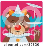 Clipart Illustration Of A Brown Female Circus Clown Teddy Bear Doing A Balancing Stunt by Dennis Holmes Designs
