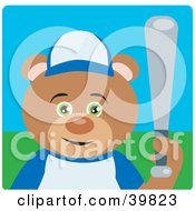 Clipart Illustration Of A Green Eyed Teddy Bear Playing Baseball On A Field