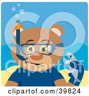 Clipart Illustration Of A Green Eyed Male Teddy Bear Wearing Blue Snorkel Gear Holding A Fish Underwater by Dennis Holmes Designs