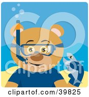 Clipart Illustration Of A Brown Male Bear Wearing Blue Snorkel Gear Holding A Fish Underwater by Dennis Holmes Designs
