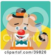 Blue Eyed Male Circus Clown Teddy Bear Honking A Horn
