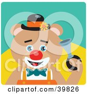 Clipart Illustration Of A Blue Eyed Male Circus Clown Teddy Bear Honking A Horn by Dennis Holmes Designs