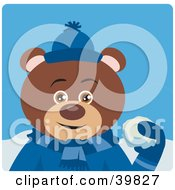 Clipart Illustration Of A Brown Male Teddy Bear In Blue Throwing Snowballs by Dennis Holmes Designs