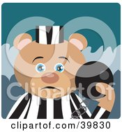 Clipart Illustration Of A Blue Eyed Prisoner Teddy Bear Attached To A Ball And Chain by Dennis Holmes Designs