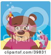 Clipart Illustration Of A Brown Female Teddy Bear Wearing Pink Snorkel Gear Holding A Fish Underwater by Dennis Holmes Designs