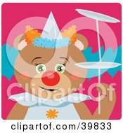 Clipart Illustration Of A Green Eyed Female Circus Clown Teddy Bear Doing A Balancing Stunt