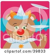 Green Eyed Female Circus Clown Teddy Bear Doing A Balancing Stunt