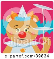 Clipart Illustration Of A Brown Female Circus Clown Bear Doing A Balancing Stunt