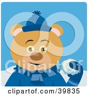 Clipart Illustration Of A Brown Bear In Blue Throwing Snowballs by Dennis Holmes Designs