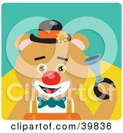 Brown Male Circus Clown Bear Honking A Horn
