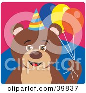 Clipart Illustration Of A Brown Male Birthday Teddy Bear Holding Party Balloons by Dennis Holmes Designs