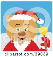 Clipart Illustration Of A Blue Eyed Charity Bell Ringer Bear In A Santa Suit